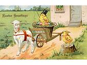 A vintage Easter postcard of a chick riding on an Easter wagon pulled by a lamb