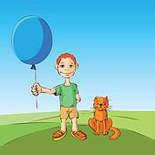 The boy and the cat walk with inflatable ball. Vector illustrati