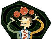 A busy man juggling three clocks