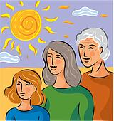Illustration about genetics with three generations of women standing in a row
