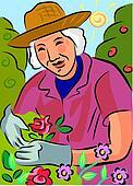 An elderly woman gardening