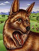 Painting of a fox with his mouth open