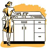 A vintage illustration of a woman washing dishes