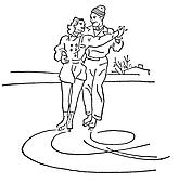 A black and white version of a vintage illustration of two people figure skating