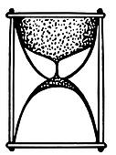 A black and white version of sands running through the hour glass