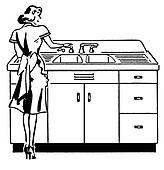 A black and white version of a vintage illustration of a woman washing dishes
