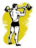 A very muscular man weight lifting