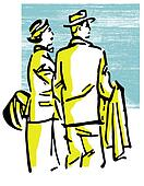 A vintage illustration of a traveling couple