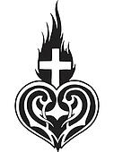 A black and white version of a stencil of a heart with a flaming cross upon it