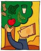 A man picking an apple from a tree filled with different food groups