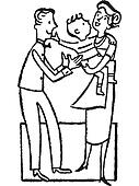 Boy in mothers arms with father standing beside