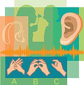 Collage of a doctor looking inside a patient's ear, an ear, a hearing aid, and sign language