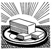 A black and white version of an illustration of a slab of cut butter