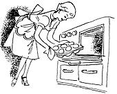 A black and white version of a vintage illustration of a woman removing buns from the oven