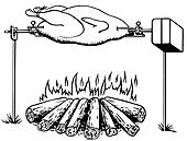 A black and white version of an illustration of a chicken roasting on an open fire