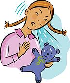Illustration of a girl sneezing over her teddy bear