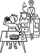 A black and white version of a young boy eating at a table with his mother in the kitchen