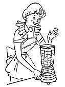 A black and white version of a vintage illustration of a woman using a blender