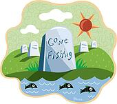 An image of a cemetary by the water with a headstone that says Gone Fishing