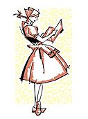 A vintage illustration of a German waitress