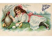 A vintage Easter postcard of a girl with a hen, chicks and eggs on a farm