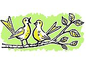 Two birds on a tree branch singing