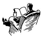 A black and white version of a man relaxing reading a book