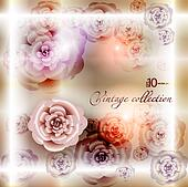 abstract vintage elegant vector background with with vegetative, floral ornament