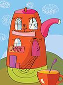 Teapot as a house funny cartoon