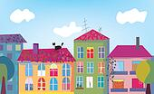 Town and houses facades cartoon