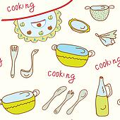 Coooking object funny seamless bright pattern