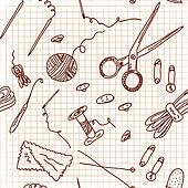 Sewing and knitting doodle seamless