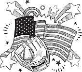 American baseball vector sketch