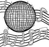 Retro disco ball sketch