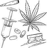 Illegal drugs objects sketch