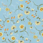 Chrysanthemum seamless floral pattern with berries