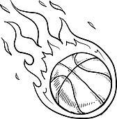 Flaming basketball sketch