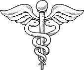Caduceus medical symbol sketch