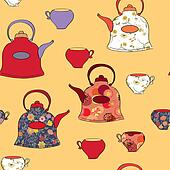 Seamless pattern with tea pots and cups in retro style
