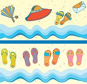 Set of beach seamless borders funny cartoons