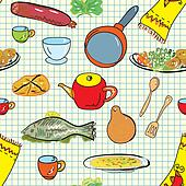 Seamless pattern with crockery and dishes