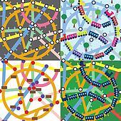 Trains and subway seamless pattern set