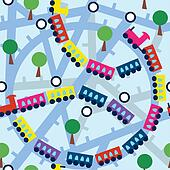 Seamless pattern with funny trains and trees
