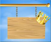 Wooden hanging sign and gold crown