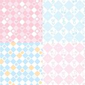 Seamless patterns for the baby in pink and blue