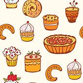 Cupcakes and backing seamless pattern funny