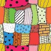 Quilt seamless wallpaper with different patterns