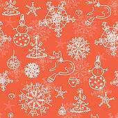 Christmas red seamless pattern with cats, trees and snow