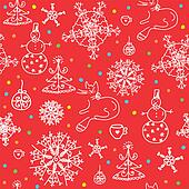 Christmas  red seamless wallpaper with snow
