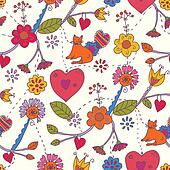 Floral valentine seamless pattern with cat